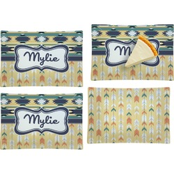 Tribal2 Set of 4 Rectangular Appetizer / Dessert Plates (Personalized)