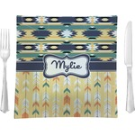 "Tribal2 Glass Square Lunch / Dinner Plate 9.5"" - Single or Set of 4 (Personalized)"