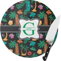 Hawaiian Masks Round Glass Cutting Board - Small (Personalized)