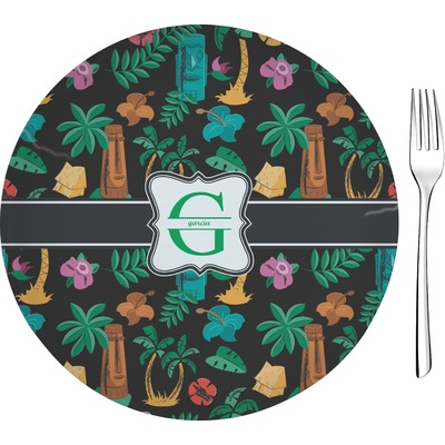 "Hawaiian Masks 8"" Glass Appetizer / Dessert Plates - Single or Set (Personalized)"