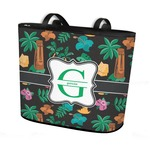 Hawaiian Masks Bucket Tote w/ Genuine Leather Trim (Personalized)