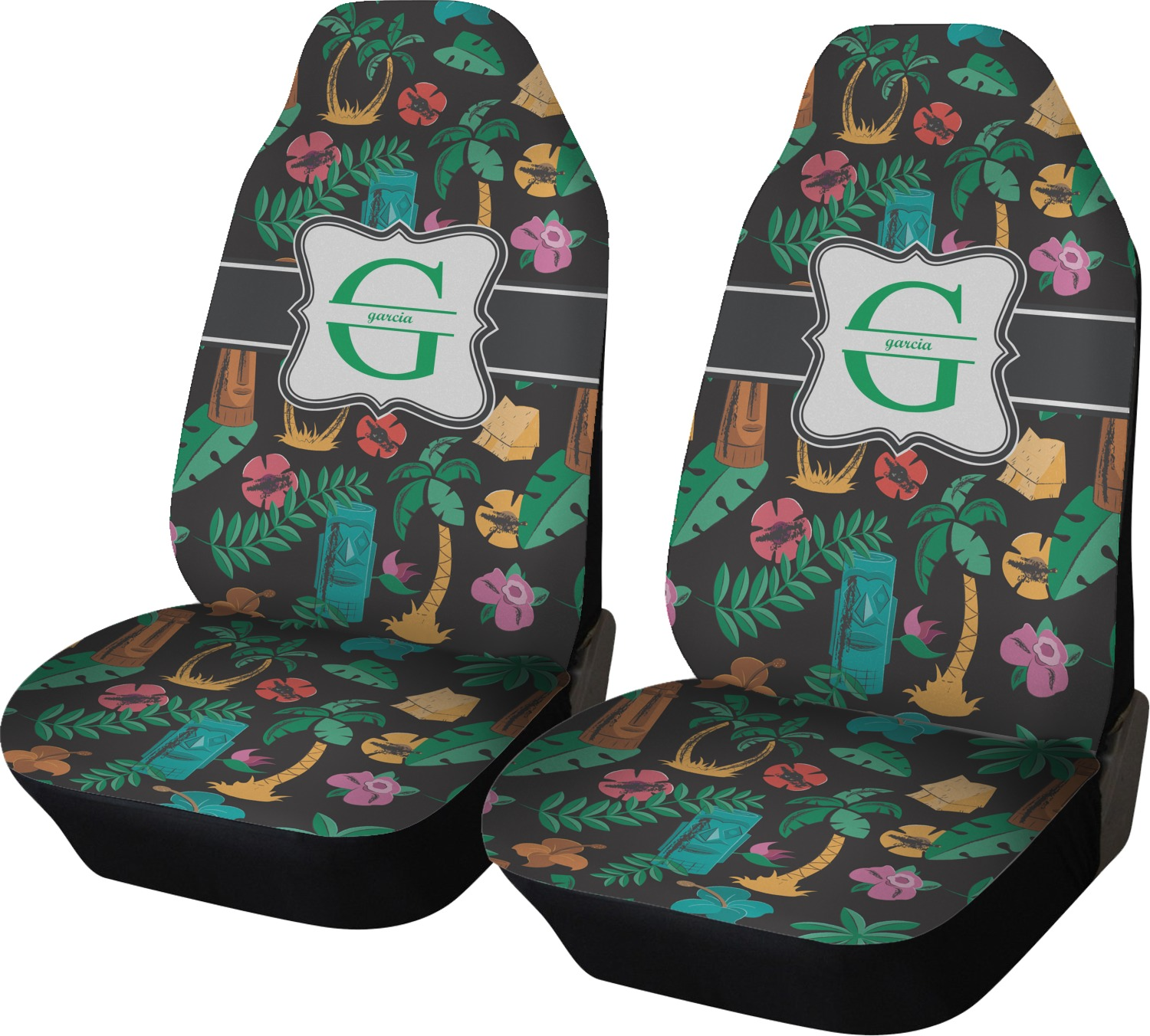 Hawaiian Masks Car Seat Covers Set Of Two Personalized