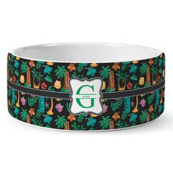 Hawaiian Masks Ceramic Dog Bowl (Personalized)