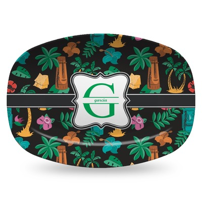 Hawaiian Masks Plastic Platter - Microwave & Oven Safe Composite Polymer (Personalized)