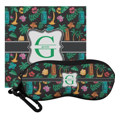 Hawaiian Masks Eyeglass Case & Cloth (Personalized)