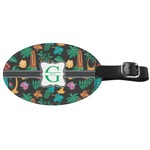 Hawaiian Masks Genuine Leather Oval Luggage Tag (Personalized)