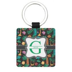 Hawaiian Masks Genuine Leather Rectangular Keychain (Personalized)