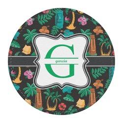 Hawaiian Masks Round Desk Weight - Genuine Leather  (Personalized)