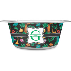 Hawaiian Masks Stainless Steel Dog Bowl (Personalized)