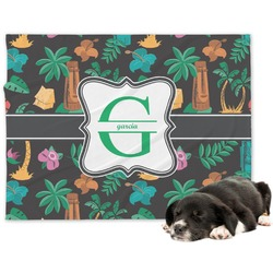 Hawaiian Masks Minky Dog Blanket (Personalized)