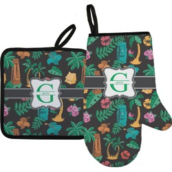 Hawaiian Masks Oven Mitt & Pot Holder (Personalized)