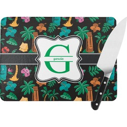Hawaiian Masks Rectangular Glass Cutting Board (Personalized)