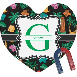 Hawaiian Masks Heart Fridge Magnet (Personalized)