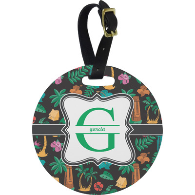 Hawaiian Masks Round Luggage Tag (Personalized)
