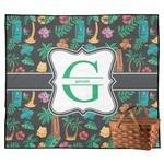 Hawaiian Masks Outdoor Picnic Blanket (Personalized)