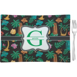 Hawaiian Masks Glass Rectangular Appetizer / Dessert Plate - Single or Set (Personalized)