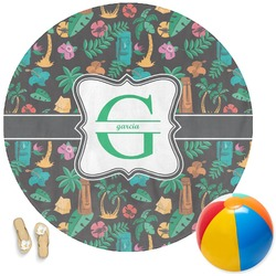 Hawaiian Masks Round Beach Towel (Personalized)