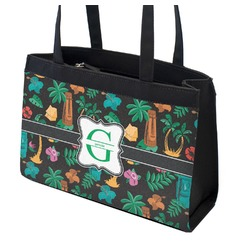 Hawaiian Masks Zippered Everyday Tote w/ Name and Initial