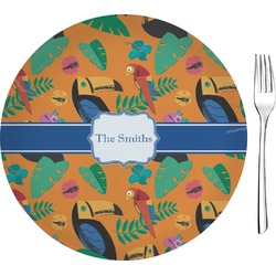 "Toucans Glass Appetizer / Dessert Plates 8"" - Single or Set (Personalized)"