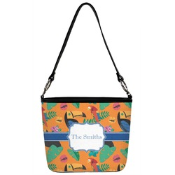 Toucans Bucket Bag w/ Genuine Leather Trim (Personalized)