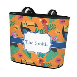Toucans Bucket Tote w/ Genuine Leather Trim (Personalized)