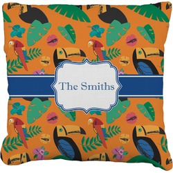 Toucans Faux-Linen Throw Pillow (Personalized)