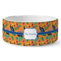 Toucans Ceramic Dog Bowl (Personalized)