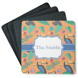 Toucans 4 Square Coasters - Rubber Backed (Personalized)
