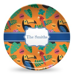 Toucans Microwave Safe Plastic Plate - Composite Polymer (Personalized)