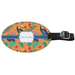 Toucans Genuine Leather Oval Luggage Tag (Personalized)