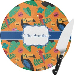 Toucans Round Glass Cutting Board (Personalized)