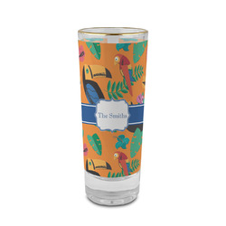 Toucans 2 oz Shot Glass - Glass with Gold Rim (Personalized)