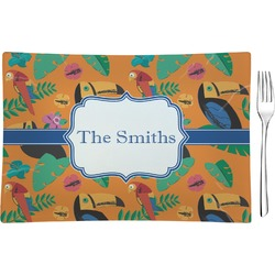Toucans Glass Rectangular Appetizer / Dessert Plate - Single or Set (Personalized)