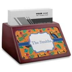 Toucans Red Mahogany Business Card Holder (Personalized)