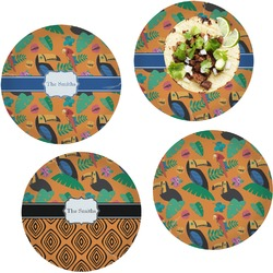 Toucans Set of 4 Lunch / Dinner Plates (Glass) (Personalized)