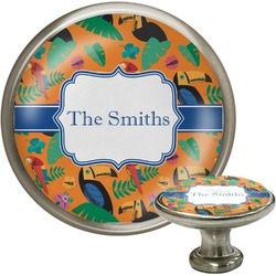 Toucans Cabinet Knob (Silver) (Personalized)