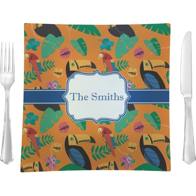 """Toucans 9.5"""" Glass Square Lunch / Dinner Plate- Single or Set of 4 (Personalized)"""