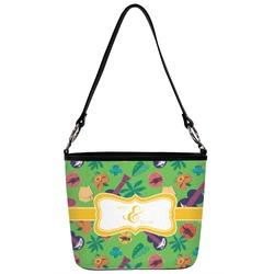 Luau Party Bucket Bag w/ Genuine Leather Trim (Personalized)