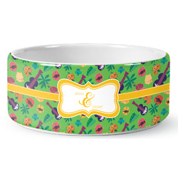 Luau Party Ceramic Pet Bowl (Personalized)