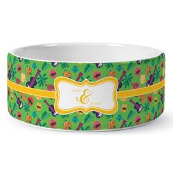 Luau Party Ceramic Dog Bowl (Personalized)
