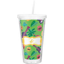 Luau Party Double Wall Tumbler with Straw (Personalized)