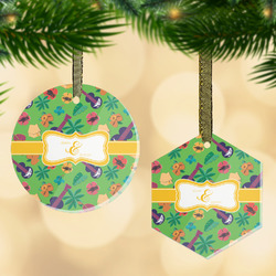 Luau Party Flat Glass Ornament w/ Couple's Names