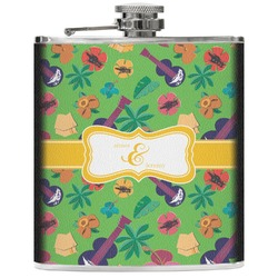 Luau Party Genuine Leather Flask (Personalized)
