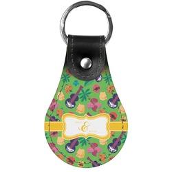 Luau Party Genuine Leather  Keychain (Personalized)