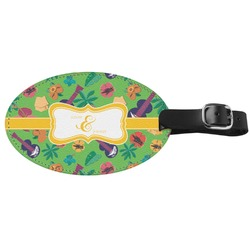 Luau Party Genuine Leather Oval Luggage Tag (Personalized)