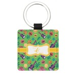 Luau Party Genuine Leather Rectangular Keychain (Personalized)