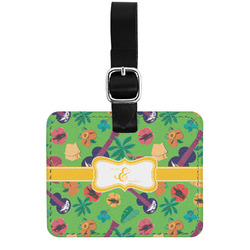 Luau Party Genuine Leather Luggage Tag w/ Couple's Names