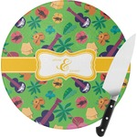 Luau Party Round Glass Cutting Board (Personalized)