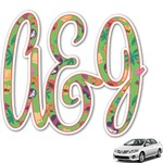 Luau Party Monogram Car Decal (Personalized)