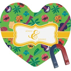 Luau Party Heart Fridge Magnet (Personalized)